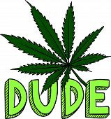 picture of just say no  - Doodle style dude marijuana leaf sketch in vector format - JPG