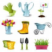 stock photo of work boots  - Gardening icons - JPG