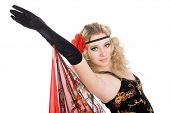 foto of bolero  - Young beautiful girl dancing spanish flamenco - JPG