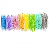 colorful texture pastel stick dust on white paper isolated