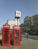 Charing Cross Station And Telephone Boxes