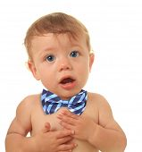 Adorable ten month old baby boy wearing a bow tie.