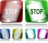 Stop. Internet buttons. Raster illustration.