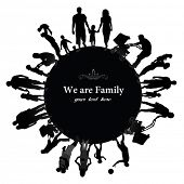 Frame with family silhouettes.