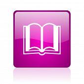 Buch Violet Quadrat Web glossy icon
