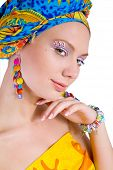beautiful woman with colourful accessories