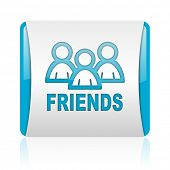 friends blue and white square web glossy icon