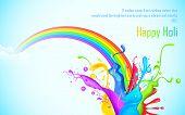illustration of colorful splash of rainbow in Holi wallpaper