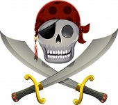 Illustration of a Pirate Skull Resting a Little Above a Pair of Swords