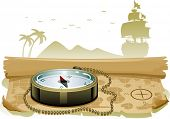 Illustration of a Compass Sitting on Top of a Treasure Map