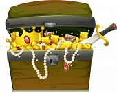 Illustration of a Treasure Chest Filled with Gold and Jewelry