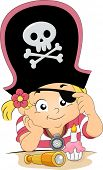 Illustration of a Girl celebrating his birthday wearing a Pirate Hat and Eyepatch
