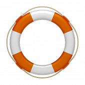 An image of an orange white life saver