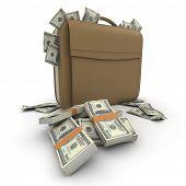 A briefcase full of cash in hundred dollar bills