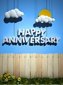 3D rendering of a wooden fence with a blue sky and happy anniversary with sun and clouds hanging fro
