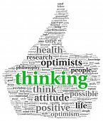 Positive thinking concept in word tag cloud of thumb up symbol