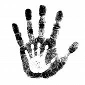 picture of fingerprint  - Adult and child hand print isolated on white background - JPG