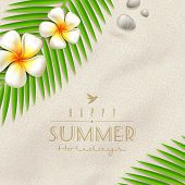 Summer holidays vector design - frangipani tropical flowers and  palm tree branches on a beach sand