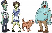 Cartoon zombie characters. Vector clip art illustration. Each in a separate layer.