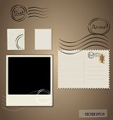 Vector illustration of a blank grunge post stamps, postcard and photo frame.