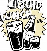 Liquid lunch alcohol sketch