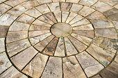 Exibição do círculo de telhas de assoalho de pedra