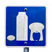 Sign picturing basic food milk bread apple and egg