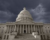 Dark sky over the United States Capitol building in Washington DC.