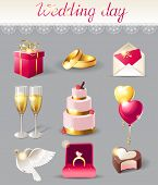 foto of ring-dove  - Wedding day icons set in pink and gold colors - JPG