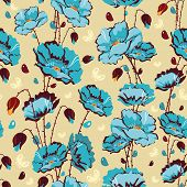 Abstract Elegance Seamless floral pattern with vintage flowers and leafs. Beautiful vector illustrat