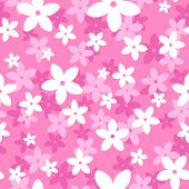 Vector seamless pattern with white and pink flowers.