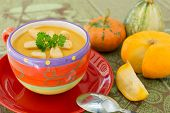 Pumpkin Soup In Colorful  Bowl