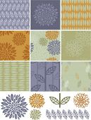 Pretty autumn floral vector seamless patterns and icons. Great for digital skins, wallpaper, backgro