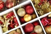 Wooden box filled with christmas decorations background