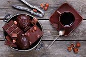 Bowl With Chocolate,  Nuts And Coffee