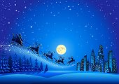 image of descending  - Christmas Santa Descending to the Big City - JPG