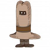 An image of a man keeping a secret kept under his hat.