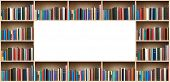 stock photo of spines  - Books on wooden shelves with copy space - JPG