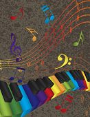 Piano Wavy Border With 3D Colorful Keys And Music Note