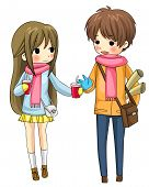 Cute Couple Sharing Their Drinks In Winter (vector)