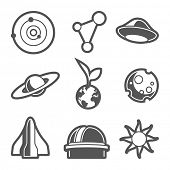 Space astronomical icons / vector without background