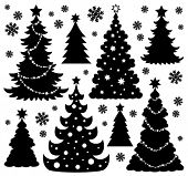 Christmas tree silhouette theme 1 - eps10 vector illustration.