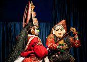 Thekkady , India - February 19 : Indian Actor Performing Traditional Dance Drama Kathakali On Februa