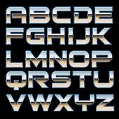 stock photo of titanium  - Vector characterset of a metal style font - JPG