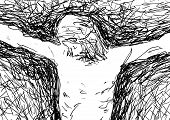 stock photo of crucifixion  - drawing of Jesus Christ nailed to the cross - JPG