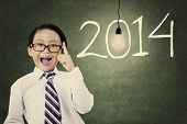 Male Student With Number Of New Year 2014