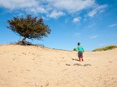 Small Boy In Dune Landscape