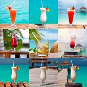 Set Of Nine Colorful Drinks By The Sea