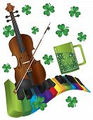 stock photo of rainbow piano  - St Patricks Day with Rainbow Colors Piano Wavy Keyboard Violin Shamrock and Green Beer Isolated on White Background Illustration - JPG