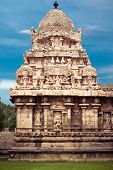 foto of chola  - Gangaikonda Cholapuram Temple over blue sky - JPG